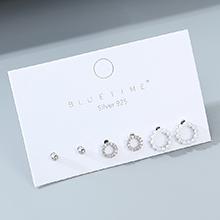 韩版东大门百搭小清新简约复古珍珠S925银针套装(白金)
