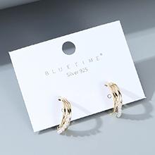 欧美镀真金大气时尚气质大牌小众复古珍珠S925银针(14K金)