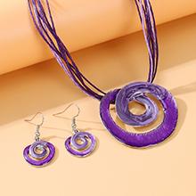 韩版创意大气个性夸张画油漩涡套装(紫色)