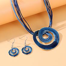 韩版创意大气个性夸张画油漩涡套装(蓝色)