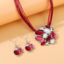 欧美复古百搭个性创意夸张珍珠画油环套装(红色)