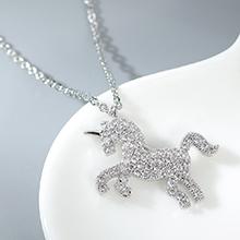 AAA级锆石项链--爱的独角兽(白金)