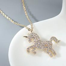 AAA级锆石项链--爱的独角兽(14K金)