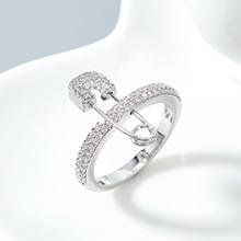 AAA级锆石戒指--爱的别针(白金)