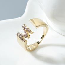 AAA级锆石戒指--M型字母戒(14K金)