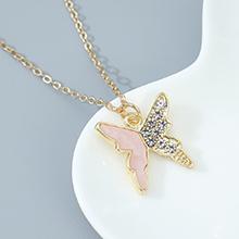 欧美法式小仙女百搭个性简约小清新飞蝶项链(粉色)