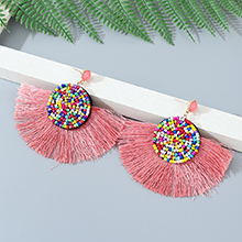 韩版创意时尚民族风百搭个性气质画油耳钉(粉色)