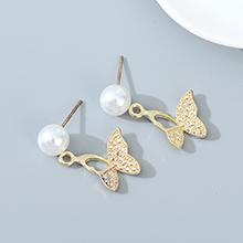 欧美法式仙女系百搭气质复古时尚蝴蝶珍珠耳钉