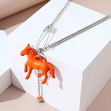 韩版夸张时尚创意百搭个性小马项链(橘黄)