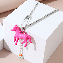 韩版夸张时尚创意百搭个性小马项链(粉色)