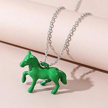 韩版时尚百搭个性创意木马项链(绿色)