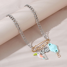 韩版创意个性夸张百搭罗马头像小鹦鹉项链(蓝色)