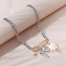 韩版创意个性夸张百搭罗马头像小鹦鹉项链(粉色)