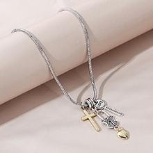 欧美时尚创意百搭个性夸张十字架桃心项链