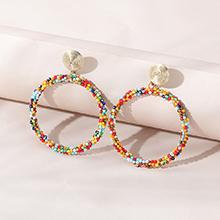 韩版时尚个性创意潮流流行大圈米珠镂空耳环