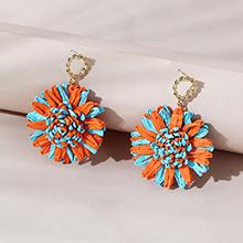 欧美百搭时尚创意个性ins潮花儿朵朵耳钉(橙色+海蓝)