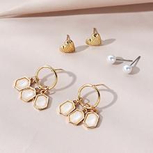 韩版复古时尚百搭创意小众小心心珍珠耳钉套装