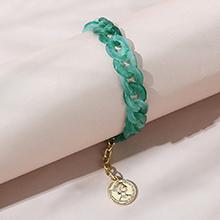 欧美创意个性百搭复古罗马头像树脂手链(绿色)