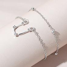 韩版时尚百搭创意气质简约双子座手链套装(白K)