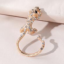 韩版时尚小清新百搭气质水晶豹单边耳环