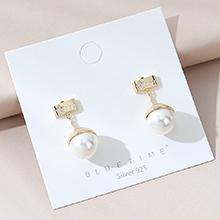 韩版镀真金复古时尚创意百搭气质小清新珍珠S925银针(14K金)