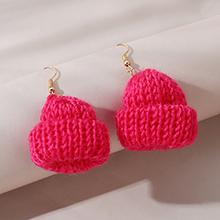 韩版创意个性时尚百搭夸张针线帽耳环(红色)