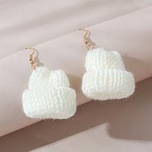 韩版创意个性时尚百搭夸张针线帽耳环(白色)