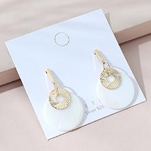 韩版镀真金时尚创意流行复古民族风亚克力板材S925银针(14K金)