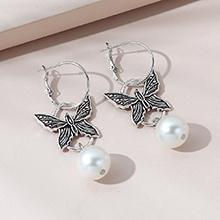 韩版复古流行百搭个性创意蝴蝶珍珠耳环
