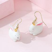 韩版创意小清新百搭可爱甜美小月兔耳环