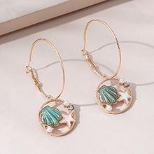 欧美时尚创意百搭小清新简约海星贝壳珍珠耳环(浅绿)