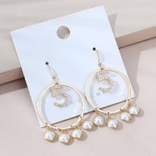 欧美镀真金风靡气质复古百搭创意个性镂空大圈珍珠耳环(14K金)