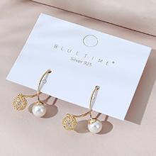 欧美镀真金小众百搭流行时尚小清新复古珍珠S925银针(14K金)