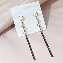 欧美长款气质百搭流行大牌时尚珍珠流苏S925银针