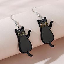 韩版简约百搭流行爆款小黑猫耳环