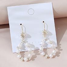 韩版镀真金复古小仙女流行气质珍珠镂空S925银针
