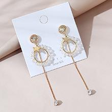 欧美镀真金百搭长款时尚流行创意个性小星星水晶玻璃S925银针