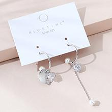 韩版镀真金时尚创意ins潮流行百搭不对称珍珠S925银针