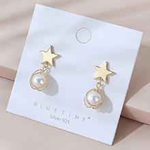 欧美镀真金时尚流行复古百搭小众小仙女珍珠S925银针(14K金)