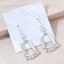 欧美镀真金时尚白带小仙女流行珍珠耳环(白金)