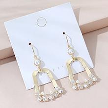 欧美镀真金时尚白带小仙女流行珍珠耳环(14K金)