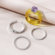 欧美小仙女时尚百搭小清新个性戒指套装(黄色+紫色)