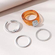 欧美小仙女时尚百搭小清新个性戒指套装(咖啡色+白色)