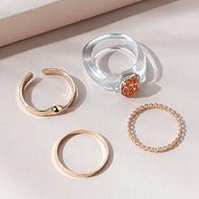 欧美小仙女时尚百搭小清新个性戒指套装(白色+橘色)