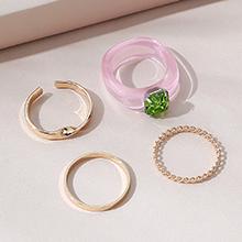 欧美小仙女时尚百搭小清新个性戒指套装(粉色+绿色)