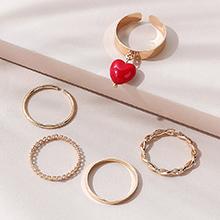 韩版创意时尚百搭流行个性桃心戒指套装