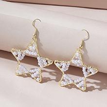 欧美创意流行百搭镂空五星珍珠耳环