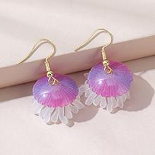 欧美百搭创意小清新小水母耳环(紫色)