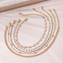 欧美百搭流行时尚个性创意气质大牌珍珠脚链套装