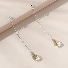 奥地利水晶耳环--优雅水滴(夜光绿)